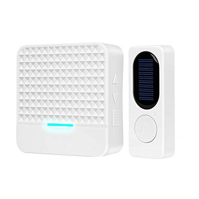 Wireless Doorbell With Led Night Light,Solar Door Bell Ring Waterproof Chime Kit No Batteries Required Remote Panel Push Butto