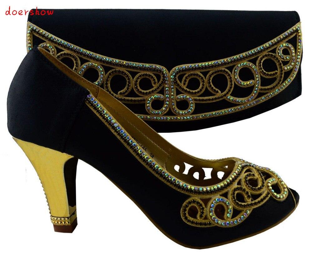 c9a974c306e29 Doershow Italien haute talon chaussures et sac pour le mariage partie,  livraison gratuite chaussures Africains et sac ensembles pour la fête EN  VENTE!