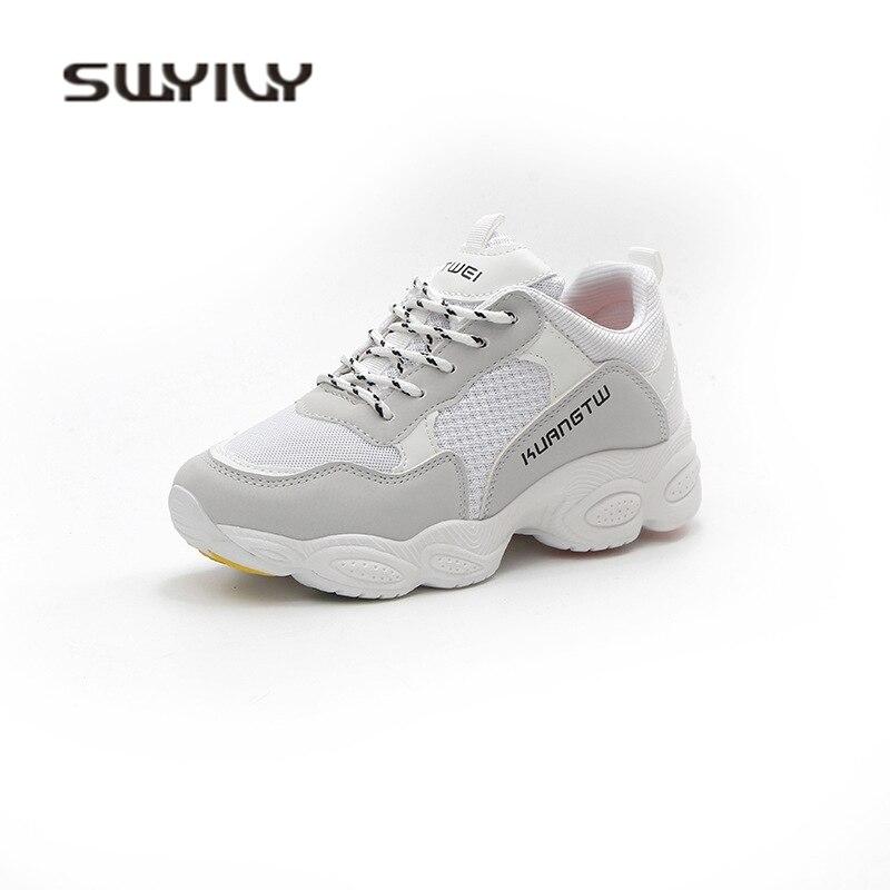 SWYIVY Women Sneakers Platform 2018 Spring Women White Shoes 2018 Casual  Shoes 40 Comfortable White Canvas Shoes Women Sneakers e9b9954352b8