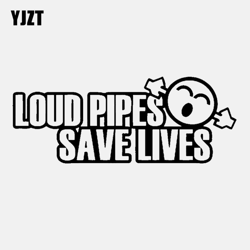 YJZT 13CM*5CM Funny LOUD PIPES SAVE LIVES JDM Vinyl Car-styling Car Sticker Black Silver C11-2113