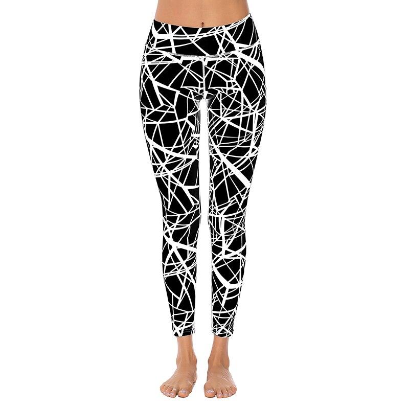 2019 New High Waist Stretch Leggings Women Slim Striped Printing Fitness Pants Female Push Up Jeggings Slim Workout Pants