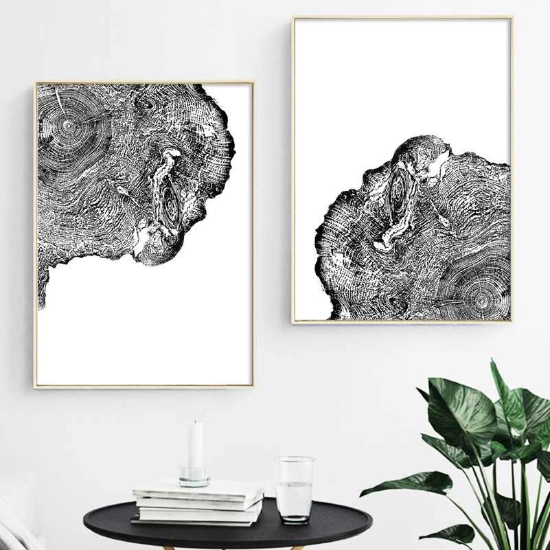 Abstract Black White Banner Yellow Leaf Birds Canvas Painting Posters Printings