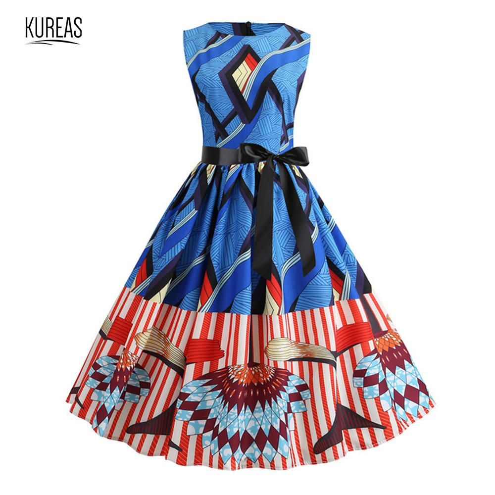 Kureas African Dresses Dashiki Vintage Retro Summer Vestido Sleeveless Tutu Dress National Printing Midi Pleated Sundress