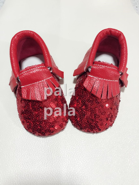 Fashion genuine leather baby moccasins red sequins girl toddler prewalker soft sole first walker shoes