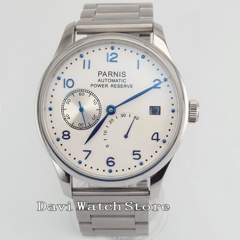 43mm Parnis White Dial Sliver Band Luxurious Power Reserve <font><b>ST2530</b></font> Automatic Men Watch 2619 image