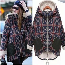 2016 new large size women warm winter plus velvet plaid personality long section of thick cotton padded women free shipping