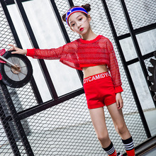 hip hop clothing kids street dancing costume for girls red crop tops dance shorts wear costumes