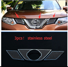 цена на More fashion! Front Grille Grill Bezel Cover Trims For Nissan X-Trail 2014 2015 / Rogue 2014-2015