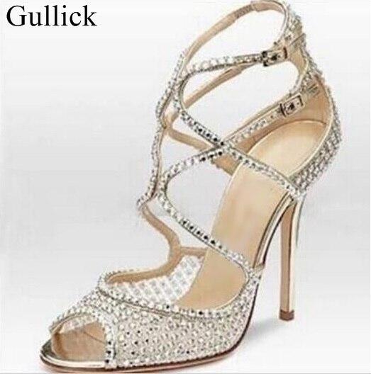 все цены на Bling Bling Crystal Embellished High Heel Sandal Cut-out Cross Strappy Sandal Peep Toe Thin Heels Party Dress Shoes Women