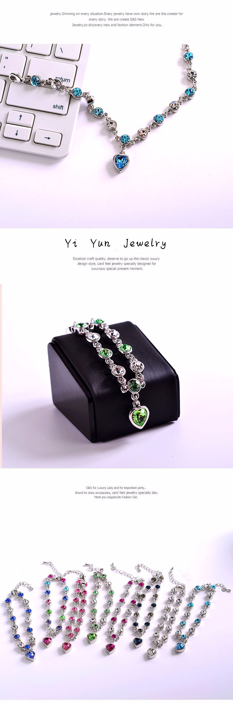 LYIYUNQ Fashion Bracelet Hot Wedding Female Heart Crystal Bracelets For Women Luxury Temperament Silver-Color Fine Jewelry Gift 10