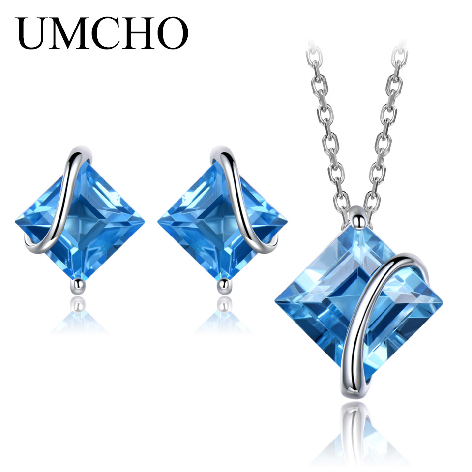 UMCHO Pure 925 Sterling Silver Jewelry Set Natural Swiss Blue Topaz Stud Earrings Pendant For Women