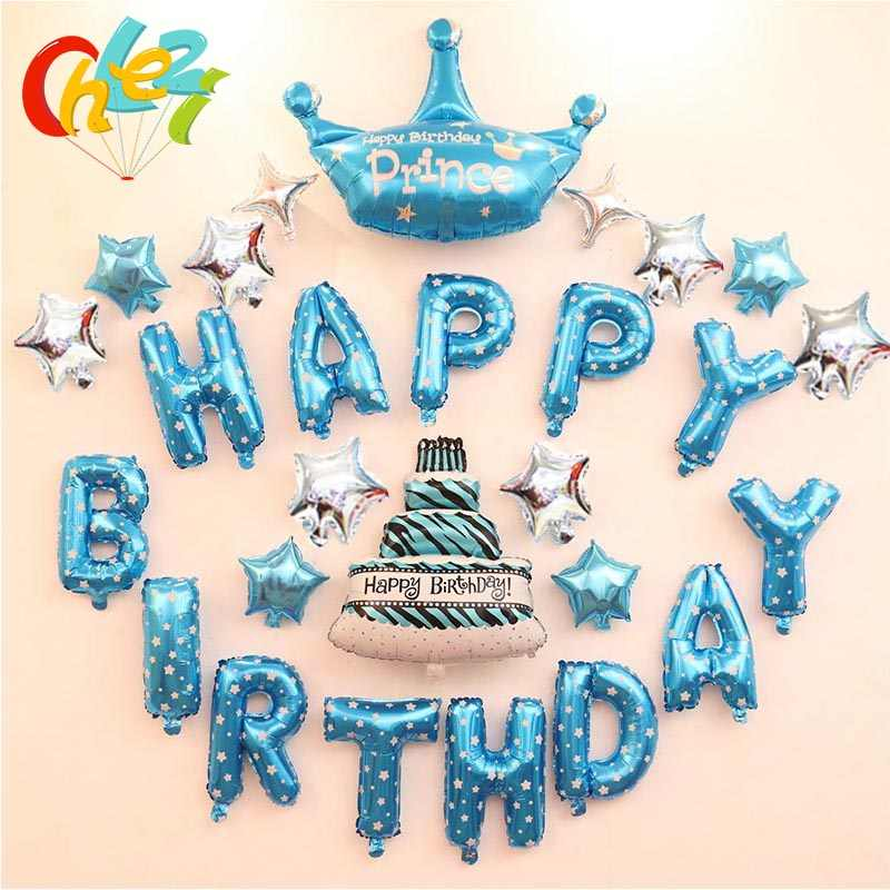 Boy Girl Birthday Decoration Ideas Happy Birthday Letter Balloons Kit Kids Party Prince Baby Shower Centerpieces Decor Supplies Ballons Accessories Aliexpress