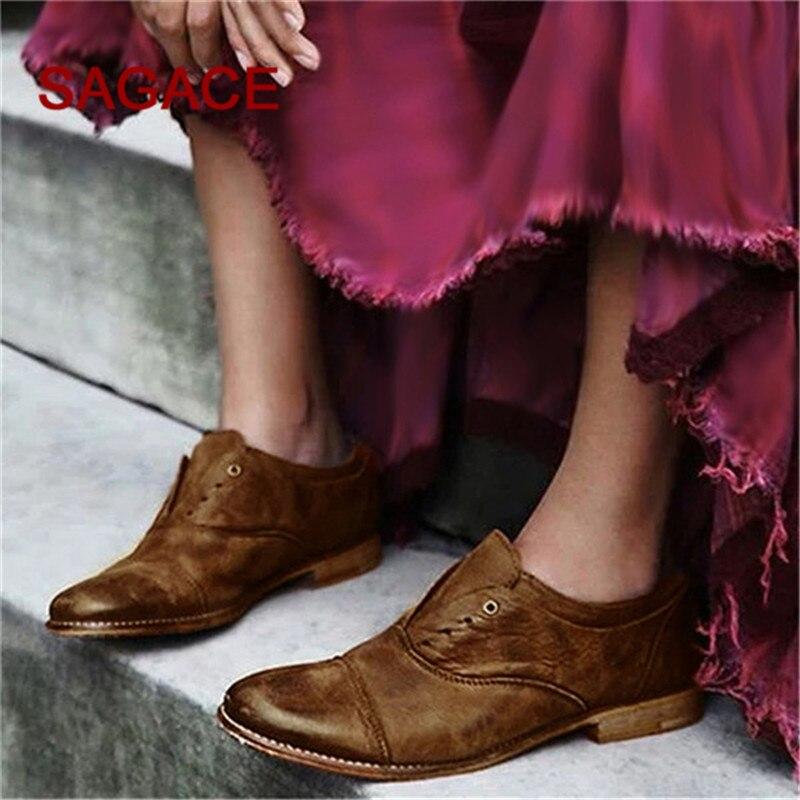 Black De La Mujeres Tacón Vendimia brown Las Botines gray on Zapatos Redonda Punta Cuadrado Solo Slip Cuero Solos 5qZpwU