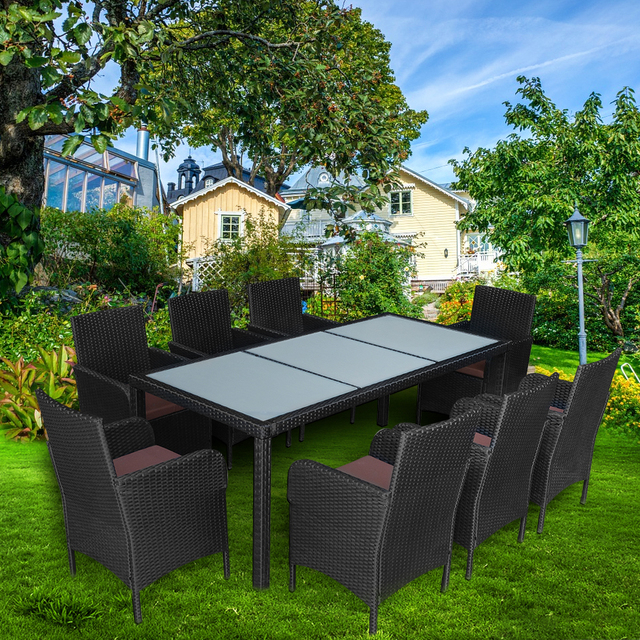 Jardín sofá de ratán conjunto con mesa de comedor 8 sillas muebles ...