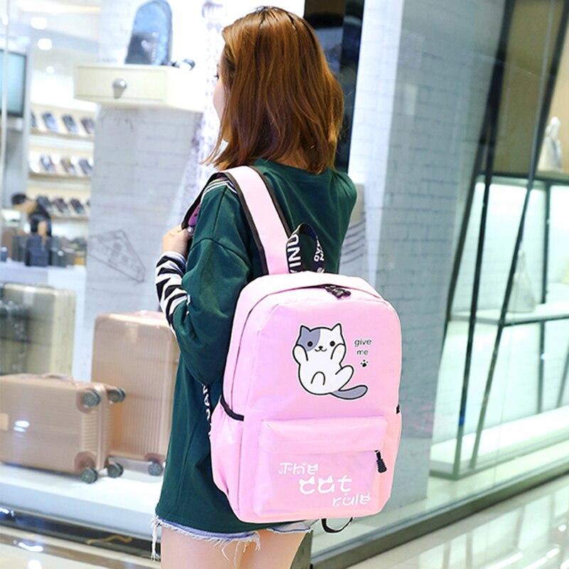 2018 nette Emoji Katze Frauen Rucksack Cartoon Japan Ring Rucksack Studenten Jugendlichen Mädchen Tasche Rucksack Weibliche Mochila Rucksack