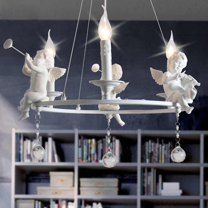 Chandelier European White Angel Led Lamps Resin Angel Art LED Light Chandeliers Led Dining Living Room Decor Chandelier F101