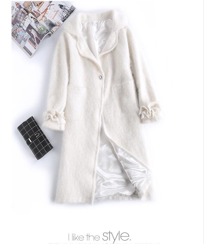 Luxe Bleu blanc Manteau 2018 Naturel 100 Nouveau De Tbsr237 Overcat Vison Cheveux Réel Cachemire Longs 66OTRqnw