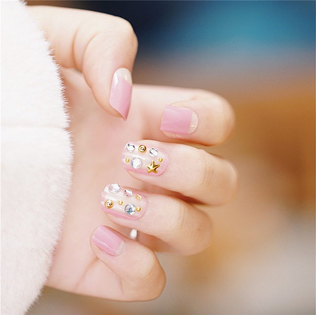 24pcs Korean Style Pink Fake Nails DIY False Full Nail Tips With Star  Decoration Nail Art