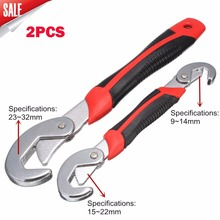 2pcs Durable Portable Set Multi-function Adjustable Quick Snap and Grip Universal Wrench Spanner