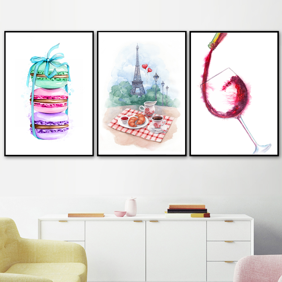 Watercolor Paris Macaron Coffee Croissant Wine Nordic Posters And Print Wall Art Canvas Painting Wall Picture Kitchen Home Decor