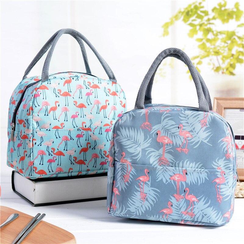 Kawaii Flamingo Portable Zipper Waterproof Lunch Bags Women Student Lunch Box Thermo Bags Office School Picnic Cooler Bag Bolsos