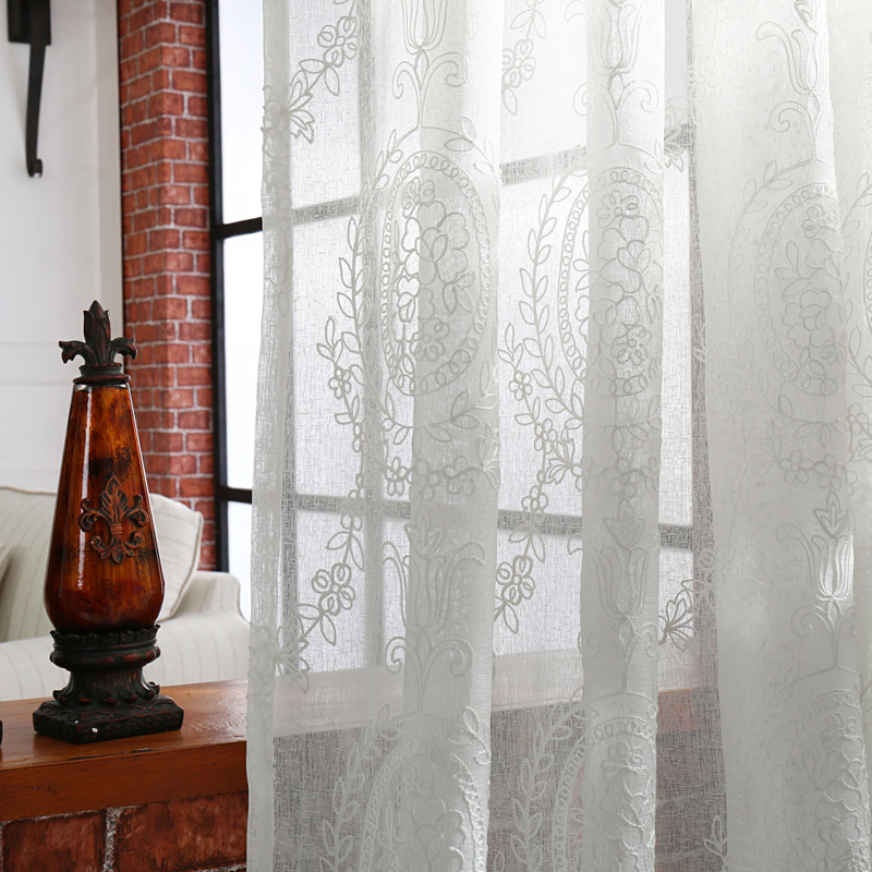 Free Shipping Curtains Drapes Living Sheer Tulle White Window Curtain  Curtains Panel Fabrics Kitchen Room White