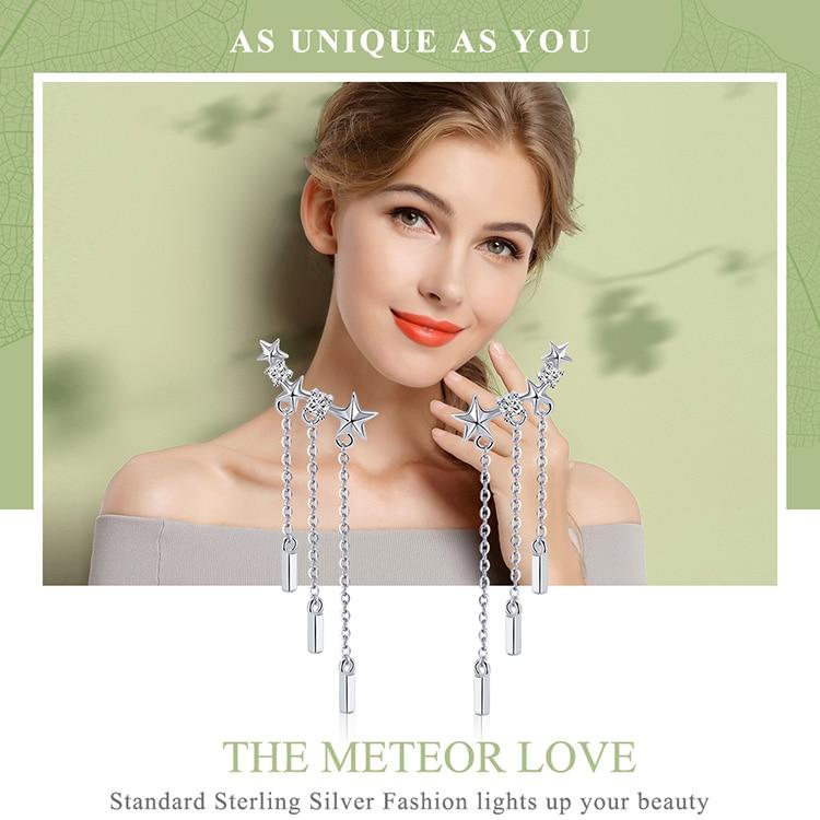 HTB1JGDXXcfrK1Rjy1Xdq6yemFXam BAMOER Genuine 925 Sterling Silver Long Chain Star Dazzling CZ Drop Earrings for Women Fashion Earrings Silver Jewelry SCE399