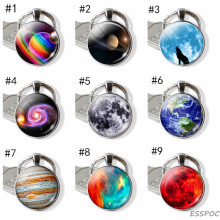 Galaxy Planet Saturn Jupiter Moon Stainless Steel Keychain Keyring Solar System Pendant Key Chain Holder Space Jewelry Gifts