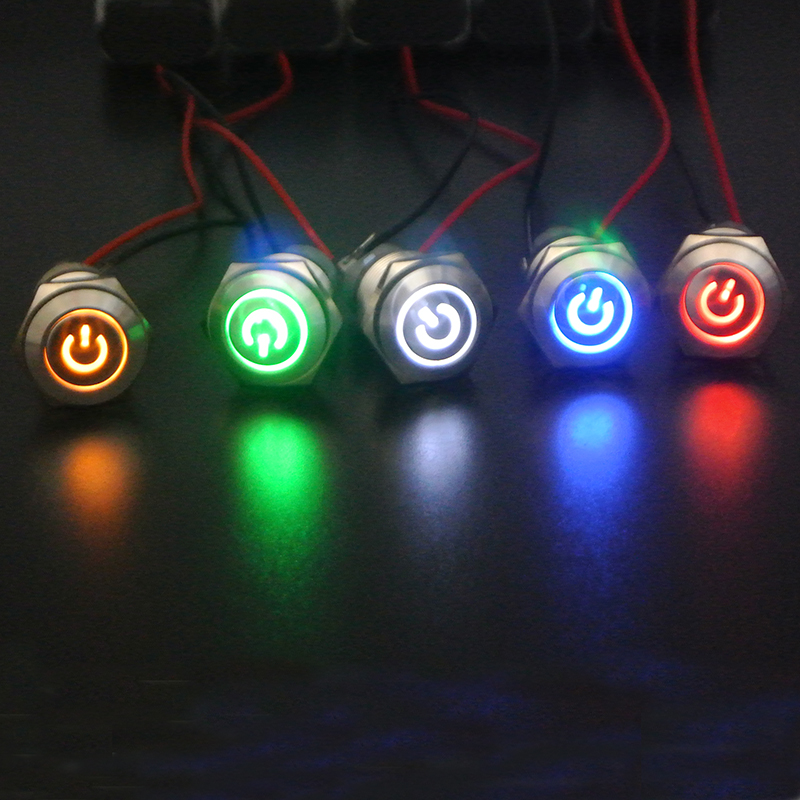 16mm 12V LED Latching ON//OFF Power Push Button Switch 1 Pack Power Symbol+Ring LED Stainless Steel Waterproof Green