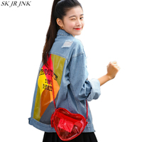 Spring Autumn Women Long Sleeve Denim Jacket Ladies Hole Printed Denim Jacket Female Fashion Single Breasted