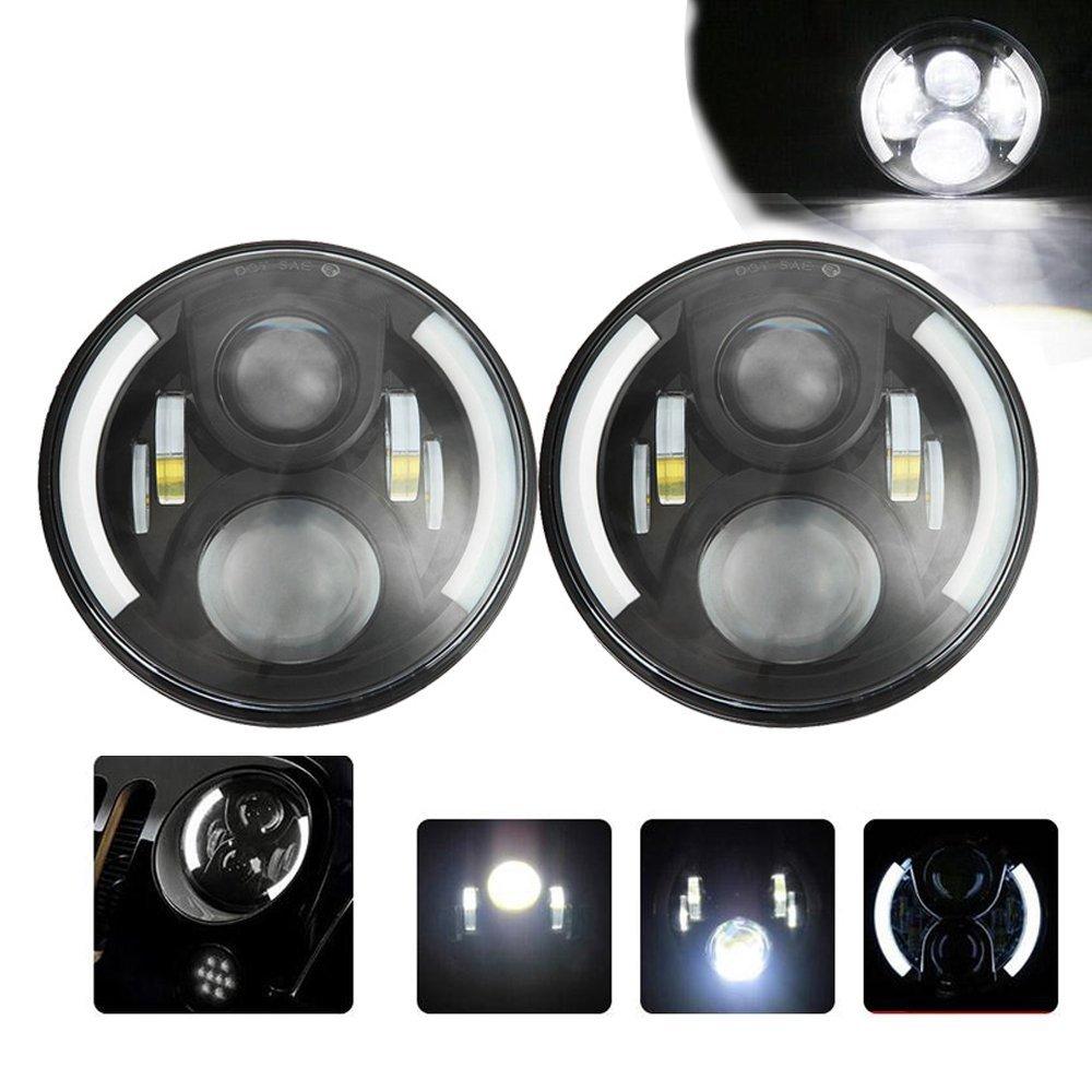7-дюймовый черный мотоцикл автомобиля 50W светодиодный проектор фары H4 Н13 ДРЛ Привет / Lo луча фары для джип Wranger JK виллиса