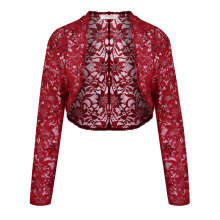 Women Casual Sleeve Lace Floral Light Crop Open Stitch Cardigan Short  (4 colors)