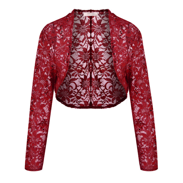 Meaneor Brand Knit Bolero Shrug Women Casual 34 Sleeve Lace Floral