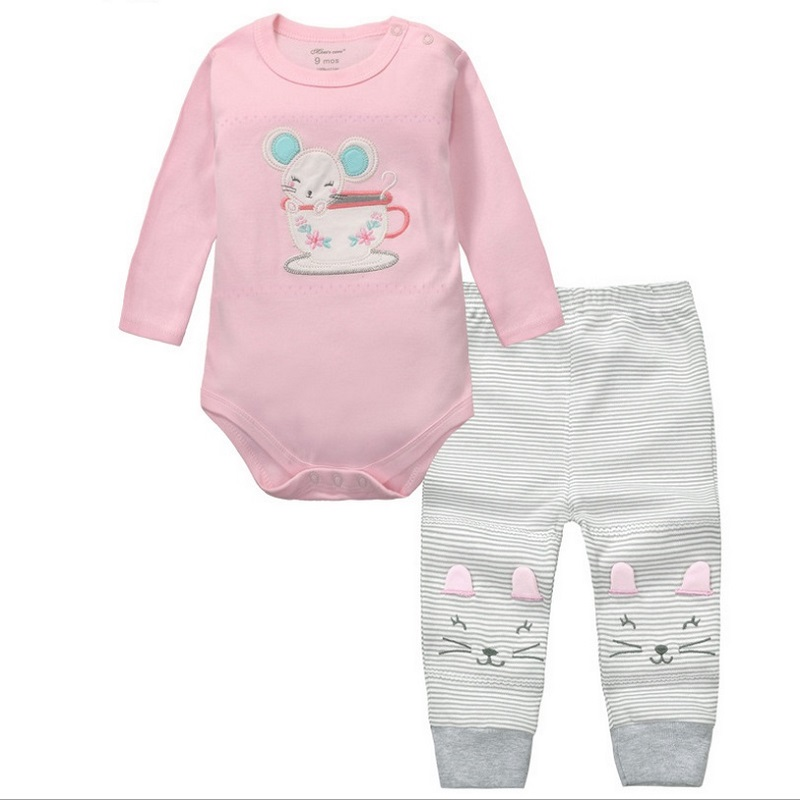 2pcs Baby Girls Boys Clothes Set Long Sleeve Rompers And Pants Roupa Infantil Menina Menino Bebe Newborn Clothing China KF092 unisex baby rompers cotton cartoon boys girls roupa infantil winter clothing newborn baby rompers overalls body for clothes