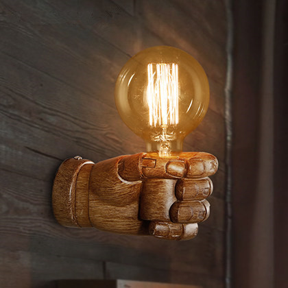 ФОТО Nordic Creative Resin Fist Wall Lamps Aisle Stairs Bar Light Fixture Retro Industrial Restaurant Bar Fist Wall Sconce