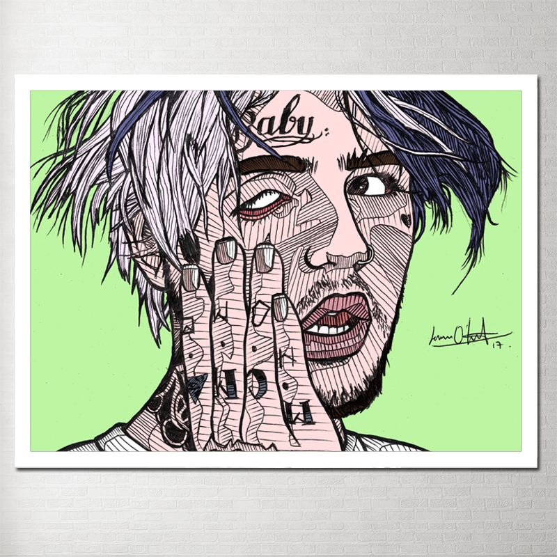 Painting Canvas Poster Lil Peep Decorative Pictures Hand Made Wall Pictures For Living Room Tableau Decoration Murale Salon Pop