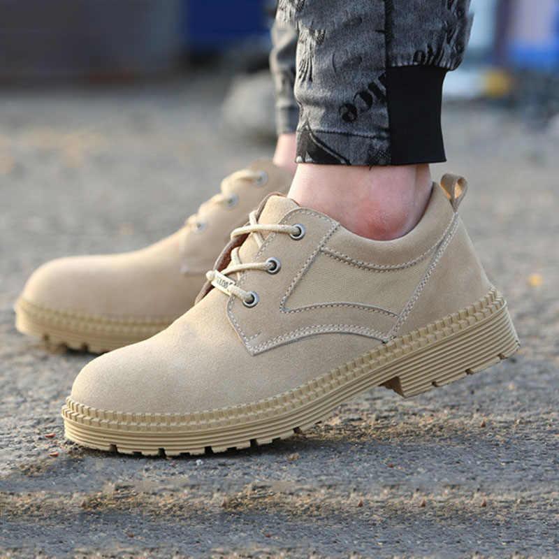 Moda erkekler çöl taktik askeri çizmeler Mens iş güvenlik ayakkabıları asker botu kış Zapatos dantel-up çelik ayak savaş yarım çizmeler