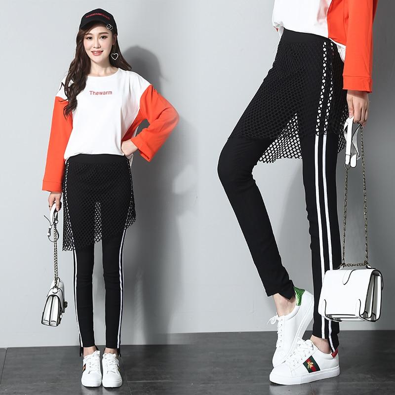 Delgada Slim Lápiz Dos Pies Nueva Pantalones Femenino Malla Gran 2018 Desgaste Falso 1 Polainas Primavera Yardas Era H1Pzw1Cq