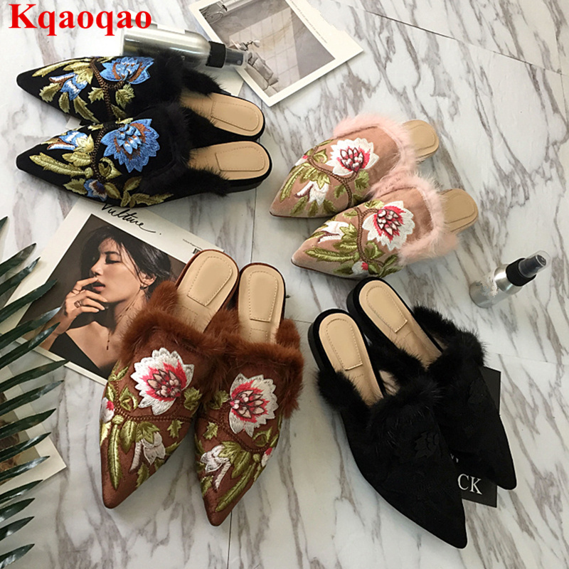 Pointed Toe Fur Decor Women Slipper Flower Pattern Embroidered Outdoor Spring Shoes Hot Brand Low Heel Star Runway Zapatos Mujer pointed toe butterfly knot decor women pumps high heel sapato feminino chic brand runway star shoes bow tie women zapatos mujer