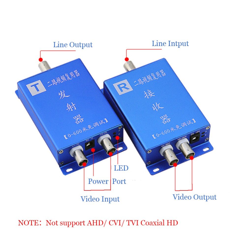 2CH Multiplexer 2CH AHD TVI CVI 1080p HD Video Multiplexer CVBS 2 Channel Video Coaxial Multiplexer for Hikvision Hdcvi 1080P 2MP CCTV Camera 2 Cameras by 1 Cable for CCTV Security System