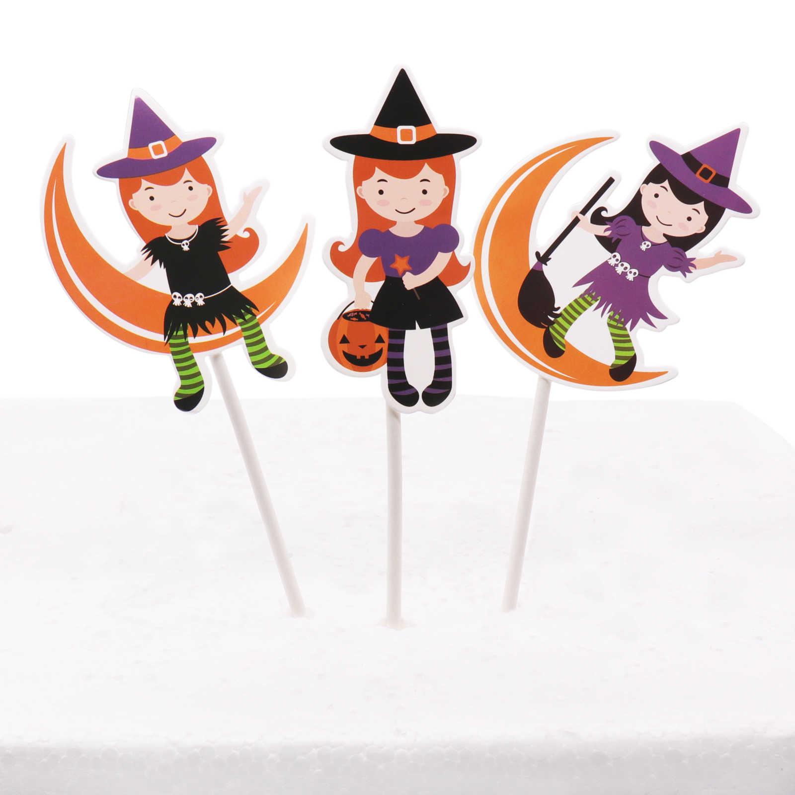 קישוטי ליל כל הקדושים עכביש, חתול שחור, גולגולת, בת, ghost, מכשפה כובע נייר עוגת טופר Ghost פסטיבל עוגת קישוטי המפלגה