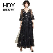 HDY Haoduoyi Femme Summer Stylish Elegant  Simple Girls Sexy Dot Sequined V-Neck Flare Three Quater Sleeve Floor-Length Dress