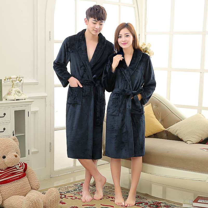 Unisex Mens Women\'s Long Polyester Sleep Lounge Robes RBS-C LYQ114 10
