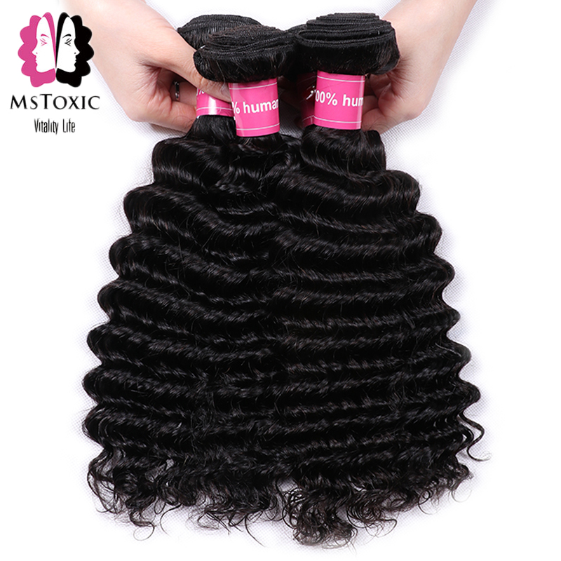 Mstoxic Peruvian Deep Wave 4 Bundles 100% Human Hair Bundles Natural Color Non Remy Hair Weave Extensions 8-26inch Free Shipping