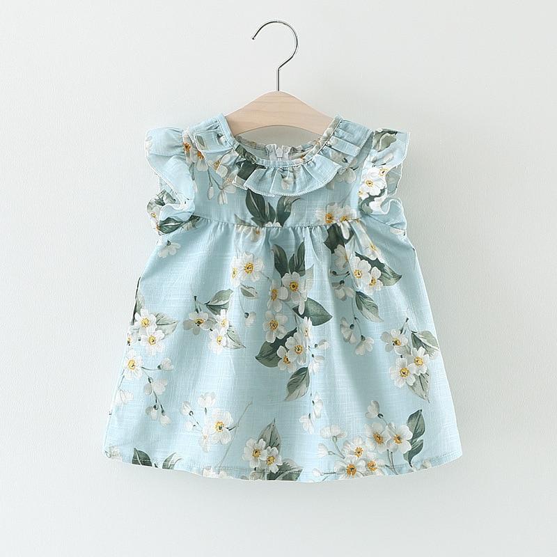 2017 Del Verano Del Bebé Infantil Vestidos de Niña de Vestido de Algodón Floral