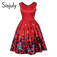 Sisjuly Vintage Dresses 1950s Summer Fashion Print Butterfly Elegant A Line Sleeveless Belt O Neck Vintage