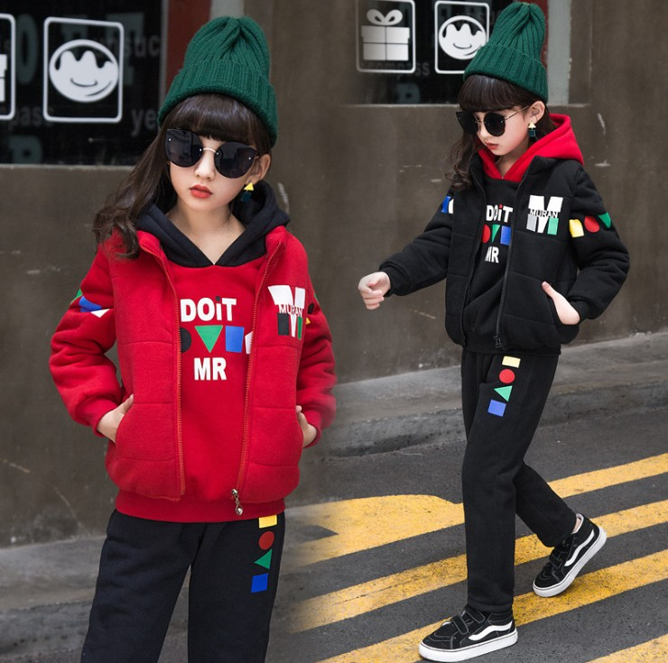 Girls Winter Cotton Padded Clothes 3 Pcs Set Children Velvet Thickened Clothing Kids Vest Coat + Hooded Sweatshirt + Pants D22 hot 3 pcs 2018 baby kids fall winter clothing set newborn thick cotton padded clothes boys girls hooded vest coat tops pant g107