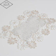 Hot Sale 1Lot 2 Pcs 30x45cm Vintage Lace Trim Embroidered Table Linen Place Mat Pad For Table Decoration