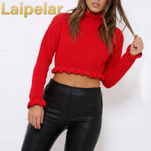 Laipelar 2018 Autumn Winter Sweater Women Tops Fashion Solid Red Ruffles Regular Sexy Short Knitted Sweaters Pullovers top