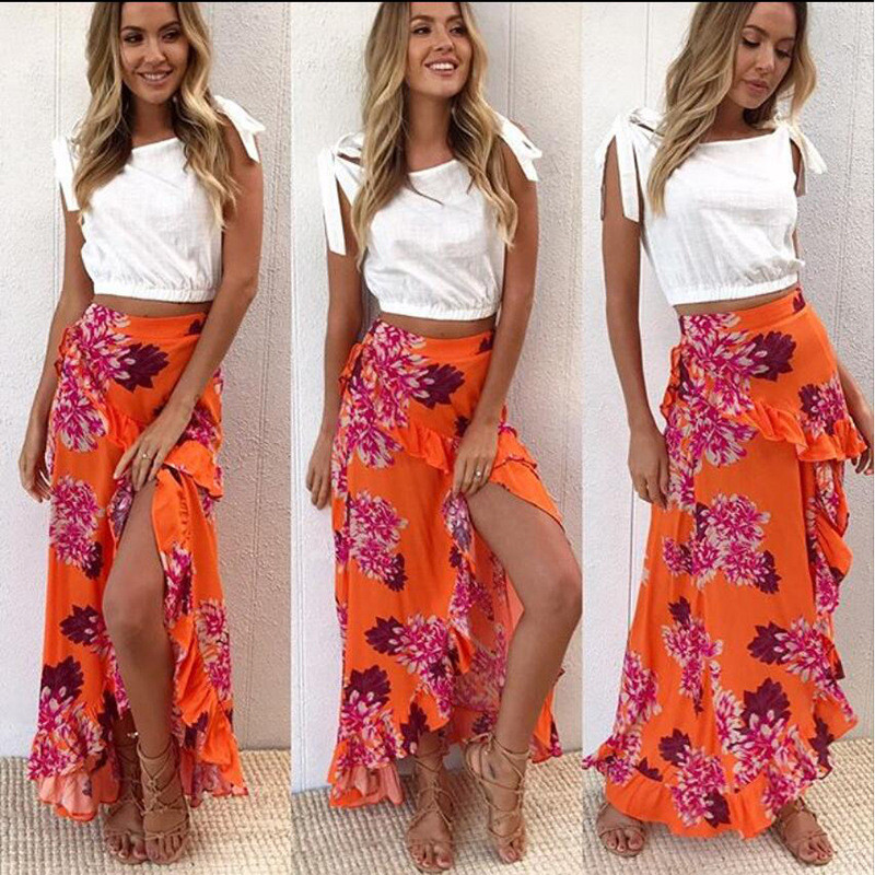 2018 New Fashion Ruffles Sexy Skirt Bohemian Long Floral Print Skirts Womens Vintage High Waist Slim Women BOHO Pleated Skirt